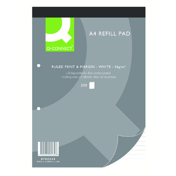 Q-Connect A4 200 Leaf Refill Pad Feint Ruled and Margin 2 Hole Punch Headbound (Pack of 5) KF02234