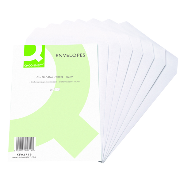 Q-Connect C5 Envelopes 90gsm Self Seal White (Pack of 500) KF02719