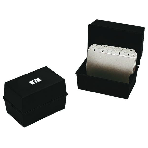 Q-Connect Black Card Index Box 5x3 Inches KF10001