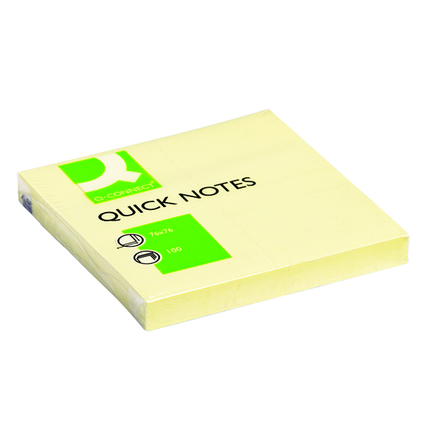 Q-Connect Repositionable 76 x 76mm Yellow Quick Notes Pack of 12 KF10502