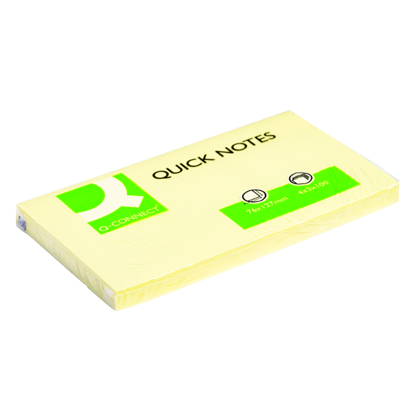 Q-Connect Repositionable 76 x 127mm Yellow Quick Notes Pack of 12 KF10503