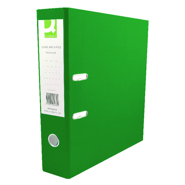 Q-Connect 70mm Lever Arch File Polypropylene A4 Green (Pack of 10) KF20022