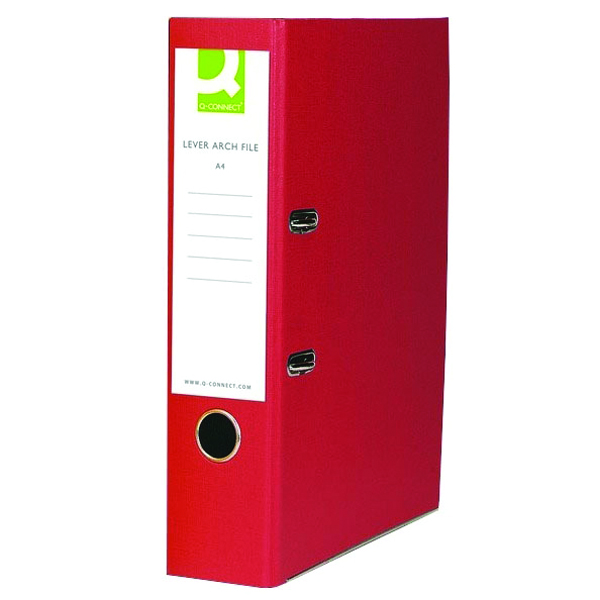Q-Connect Paper Over Board Red Lever Arch Foolscap File (Pack of 10) KF20031