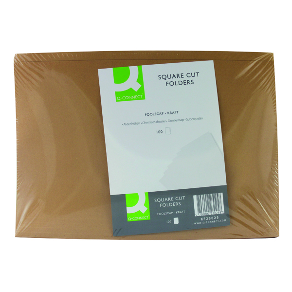 Q-Connect Buff Kraft Square Cut Folder Pack of 100 KF23025