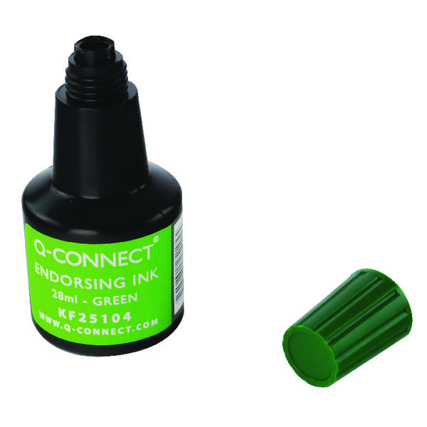 Q-Connect Green Endorsing Ink 28ml (Pack of 10) KF25104Q