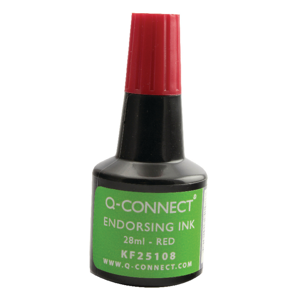 Q-Connect Red Endorsing Ink 28ml (Pack of 10) KF25108Q