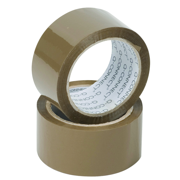 Q-Connect Polypropylene Packaging Tape 50mm x 66m Brown Pack of 6 KF27010