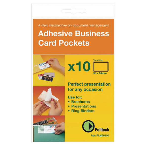 Pelltech Business Card Pockets Top Opening Self Adhesive 95x60mm (Pack of 100) PLH10141