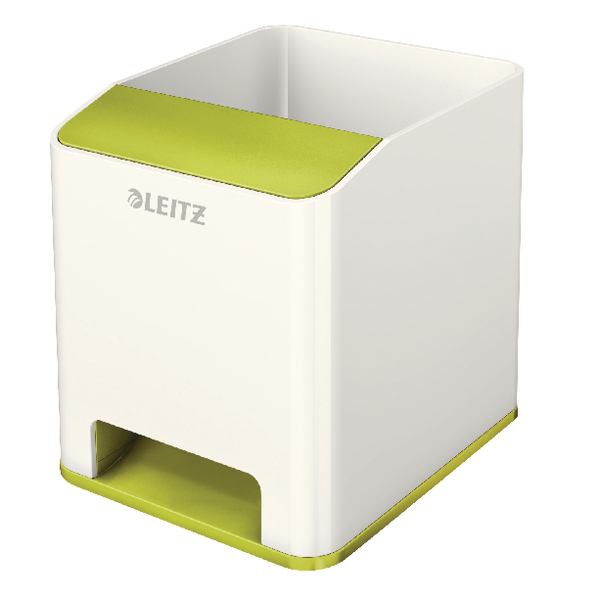 Leitz WOW Sound Booster Pen Holder White/Green 53631064