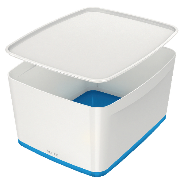 Leitz MyBox Large Storage Box With Lid White/Blue 52161036