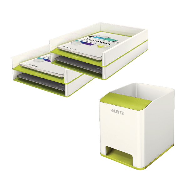 Leitz WOW Green Letter Trays + FOC Pen Pot (2 Trays + 1 Pen Pot) LZ810800
