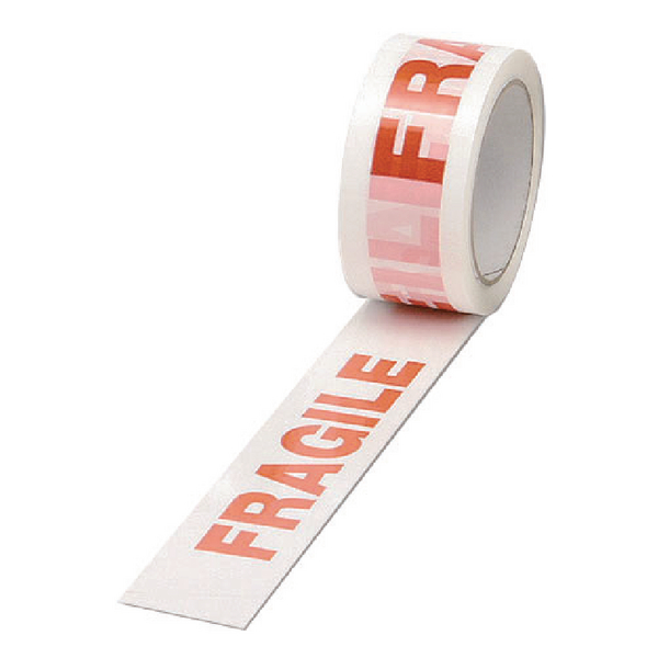 Catalogue - Vow Catalogue White/Red Polypropylene Fragile Printed Tape 50mmx66m (Pack of 6) PPP-C