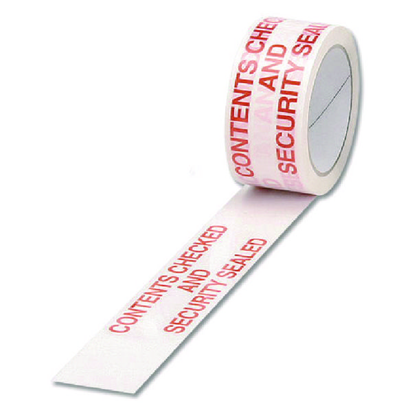 Catalogue - Vow Catalogue Polypropylene Tape Printed Contents Checked White/Red 50mmx66m PPPS-SECURITY