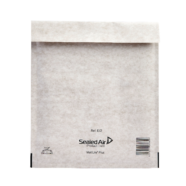 Mail Lite Plus Bubble Lined Size E/2 220x260mm Oyster White Postal Bag (Pack of 100) MLPE/2