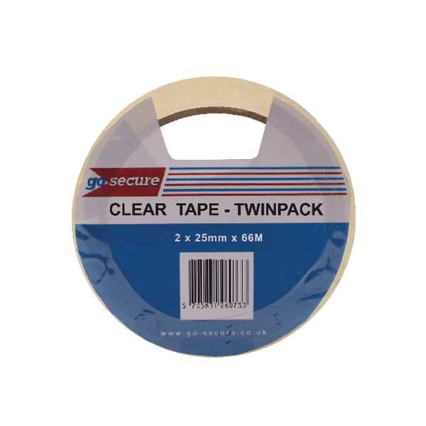 Go Secure Twin Pack 25mm x 66m Clear Tape (Pack of 6) PB02305