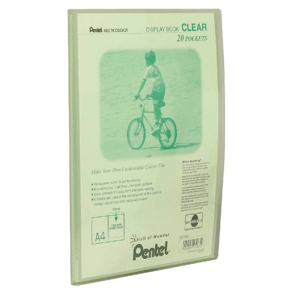 Pentel Recycology 20 Pocket Green Clear A4 Display Book (Pack of 20) DCF242K
