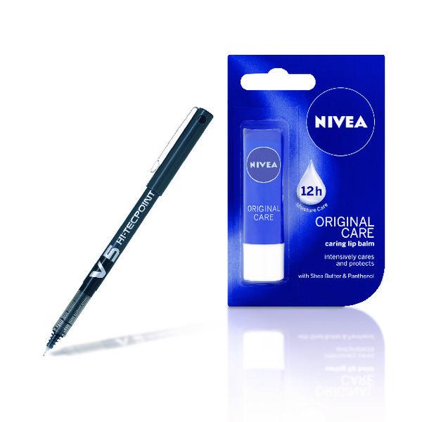 Pilot V5 Hi-Tecpoint Black Pen 0.3mm Pack of 12 FOC Lip Balm PI811326