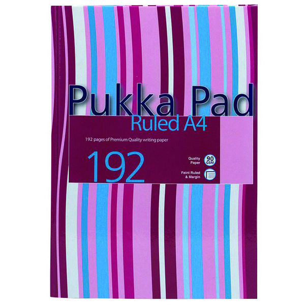 Pukka Casebound A4 Notebook Feint Ruled 192 Pages (Pack of 5) RULSTRA4
