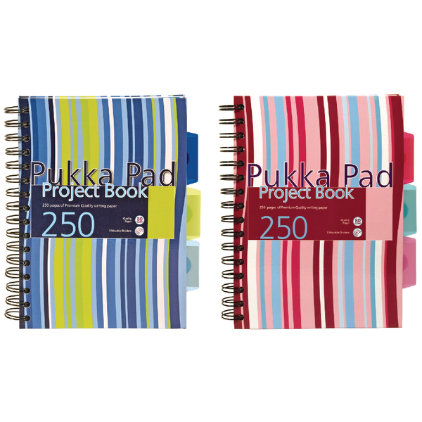 Pukka A5 Project Book Wirebound Hardback Feint Ruled 250 Pages (Pack of 3) CBPROBA5