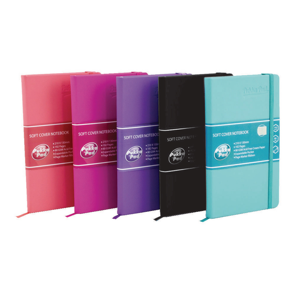 Pukka Signature Soft Cover A5 Notebook Casebound 192 Pages Assorted (Pack of 5) 7747-SIG