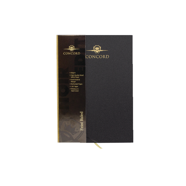 Concord Noir Casebound A4 Notebook Hardback Feint Ruled With Margin 192 Pages (Pack of 3) 7508-NOI