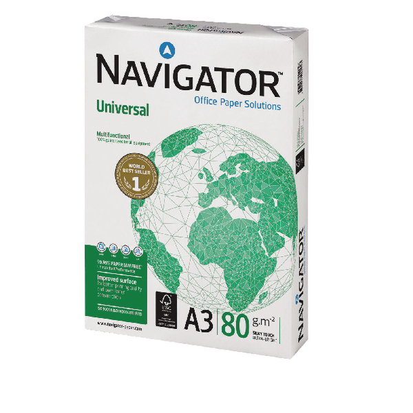 Navigator A3 Universal White Paper (Pack of 2500) NAVA380