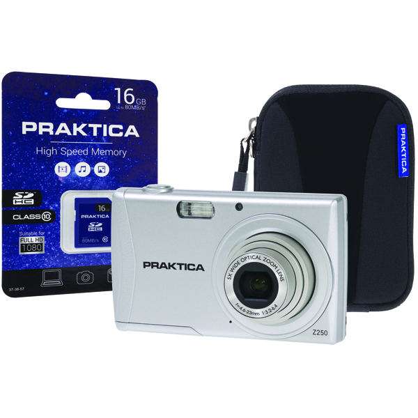 Praktica Luxmedia Z250 20mp 5x 64mb Camera Plus 16gb Card and Case