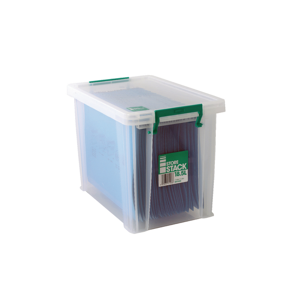 StoreStack 18.5 Litre Clear W400xD260xH290mm Storage Box RB11086