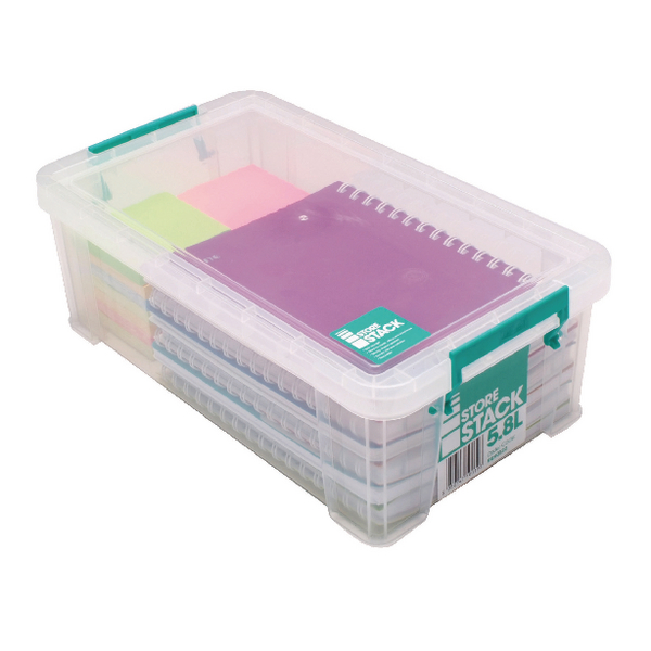 StoreStack 5.8 Litre Clear W350xD190xH120mm Storage Box RB90122