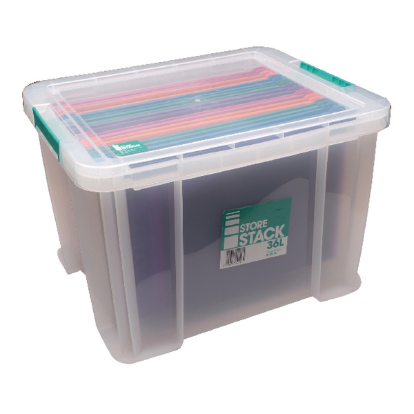 StoreStack 36 Litre Clear W480xD380xH320mm Storage Box RB90124