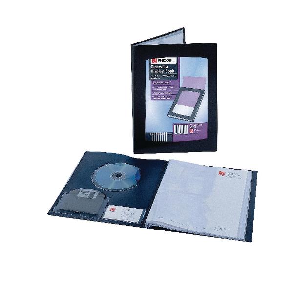 Rexel Clearview Display A5 Book Black 24 Pocket 10410BK