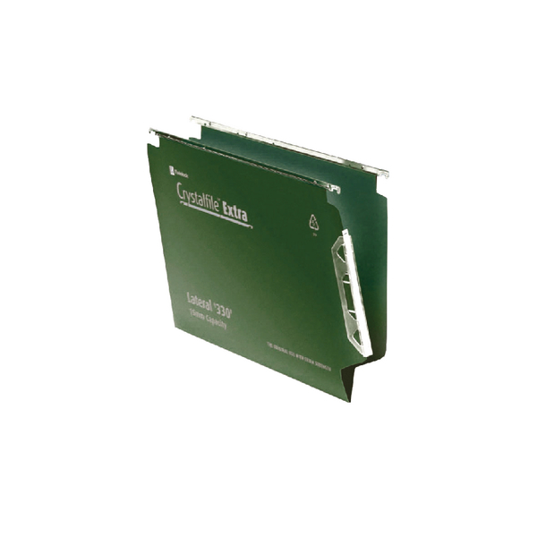 Rexel Crystalfile Extra Lateral File 15mm Green (Pack of 25) 3000121