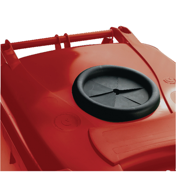 Wheelie Bin 140L With Bottle Bank Aperture and Lid Lock Red 377870