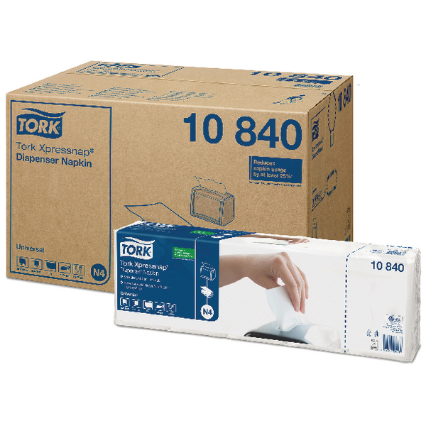 Tork Xpressnap White 1-Ply Napkins (Pack of 9000) 10840