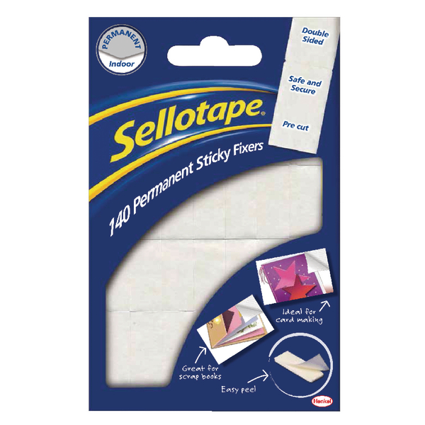 Sellotape Sticky Fixers Permanent 12 x 25mm (Pack of 140) 1445422