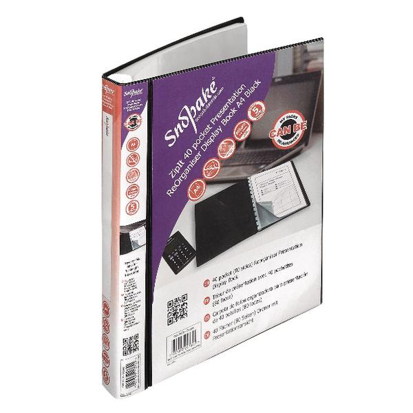 Snopake ZipIt Reorganiser Presentation Display Book 40 Pocket Black 15780