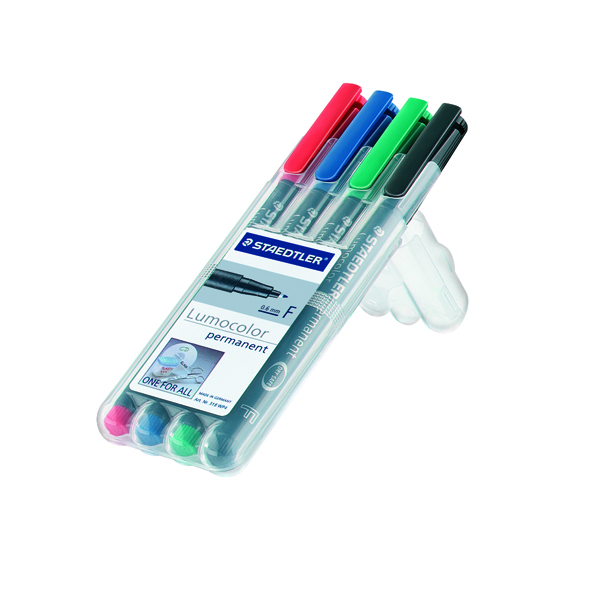 Staedtler Lumocolor Fine Tip Water Soluble OHP Pen Assorted (Pack of 4) 316-WP4