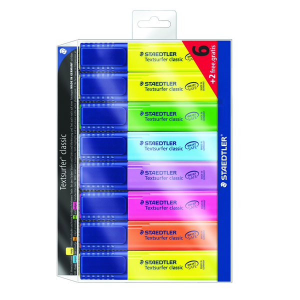 Staedtler Textsurfer Classic Highlighter Assorted (Pack of 6) + 2 Free 364AWP8