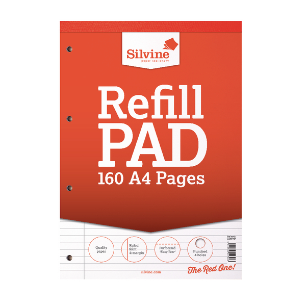 Silvine Punched 4 Hole Headbound 80 Leaf Ruled Feint and Margin Refill A4 Pad (Pack of 6) A4RPFM