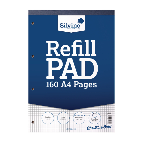 Silvine Ruled 5mm Square Headbound Refill Pad 160 Pages A4 (Pack of 6) A4RPX