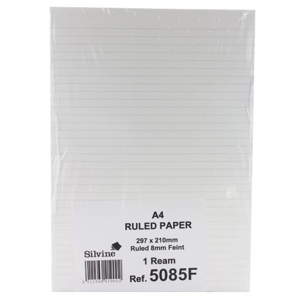 Silvine A4 Paper Single Sheets Unpunched Ruled Feint (Pack of 500) Sheets 5085F