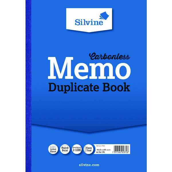 Environmentally Friendly Silvine Carbonless Duplicate Memo A4 Book Blue (Pack of 3) 714