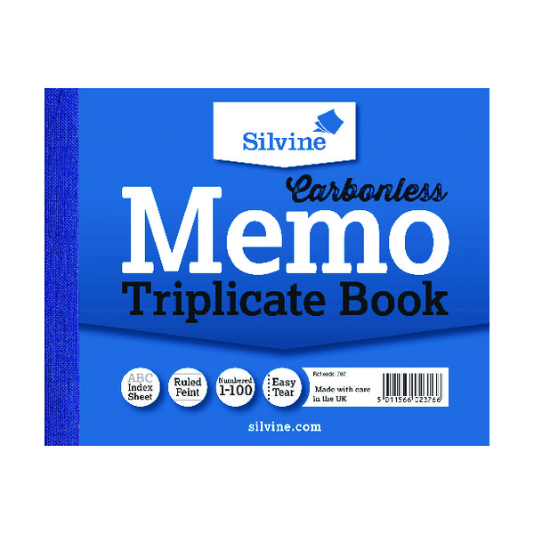 Silvine Carbonless Triplicate Memo Book Blue 102x127mm (Pack of 5) 707