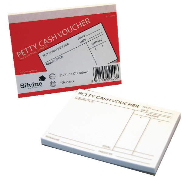 Silvine Petty Cash Pad 127x102mm 100 Leaves White (Pack of 24) 240White