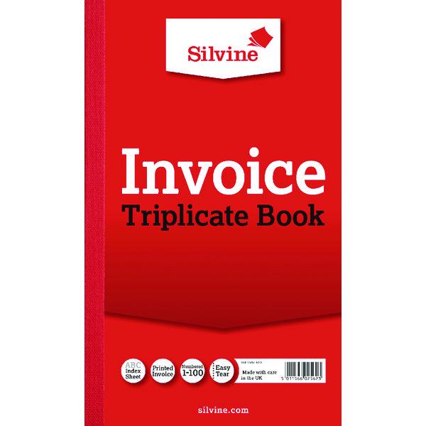 Silvine Triplicate Invoice Book 210x127mm (Pack of 6) 619