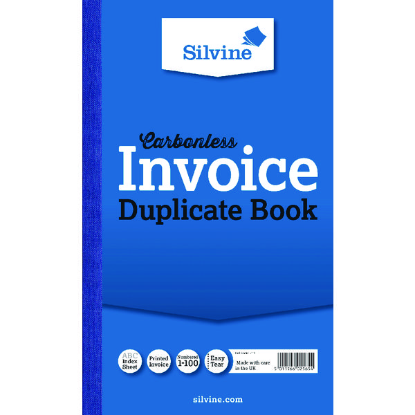 Calalogue - Office Warehouse VOW Silvine Carbonless Duplicate Invoice Book 210x127mm (Pack of 6) 711-T