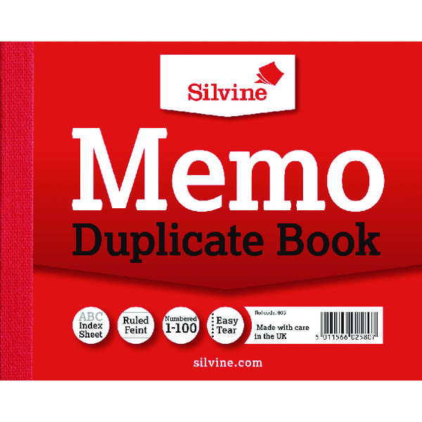 Silvine Duplicate Memo Book 102x127mm (Pack of 12) 603