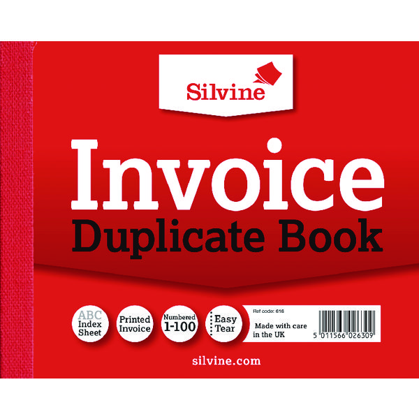 Silvine Duplicate Invoice Book 102x127mm (Pack of 12) 616