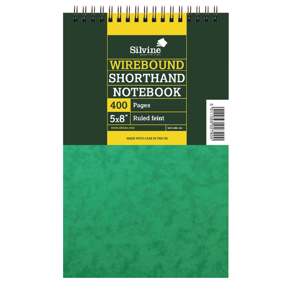 Silvine Spiral Bound Shorthand Notebook 127x203mm 200 Leaf Ruled Feint (Pack of 6) 441-T