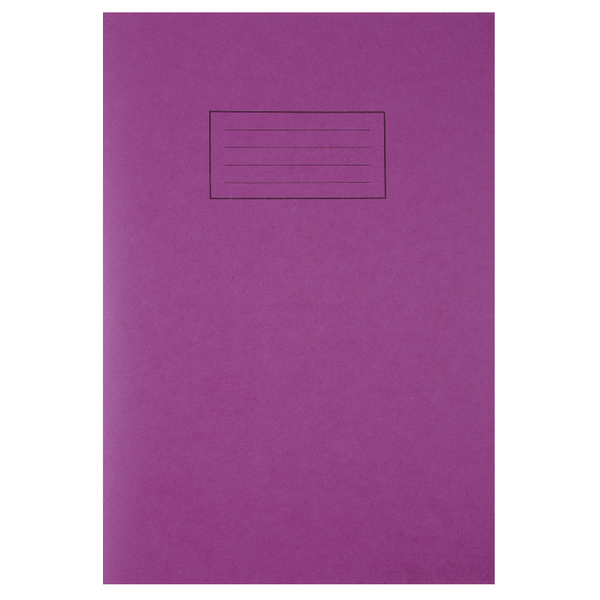 Silvine Tough Shell A4 Exercise Book Feint Ruled With Margin Purple EX140